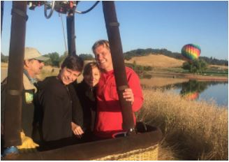 Group on private hot air balloon ride in Rancho Murietta, CA