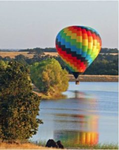 Hot Air Balloon Flight over lake in Sacramento